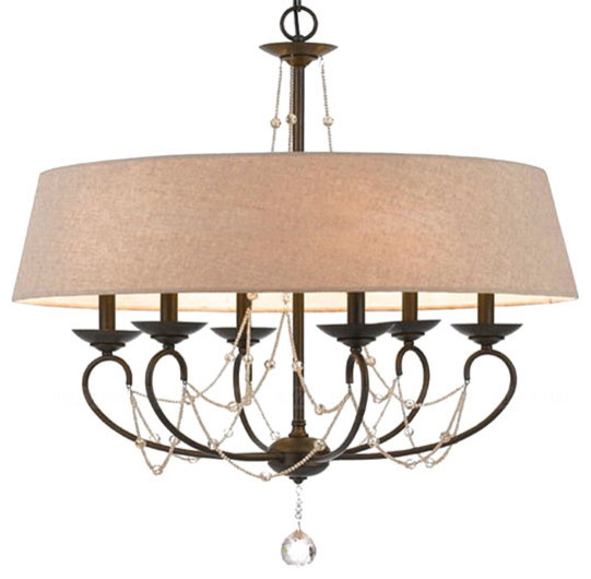 Yvette Crystal Chandelier: Country Flax Shade Crystal Drops Chandelier