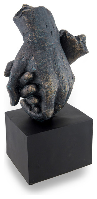 Aged bronze and verdigris finish holding hands sculpture for Modern home decor objects