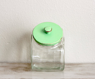 Vintage Glass Jar With Mint Green Lid By Dudads