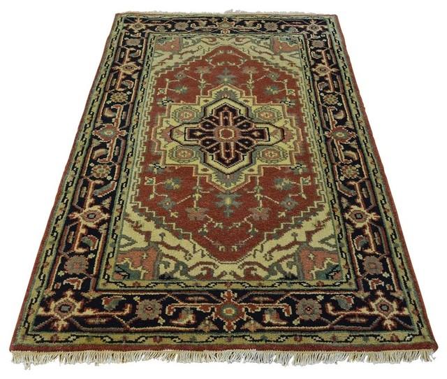 100 Wool Persian Area Rug: Rust Red 100% Wool Serapi Heriz Hand Knotted Oriental Rug