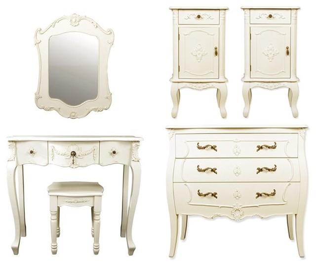 Six Piece Rococo Style Bedroom Furniture Set In Ivory Traditional Bedroom Furniture Sets
