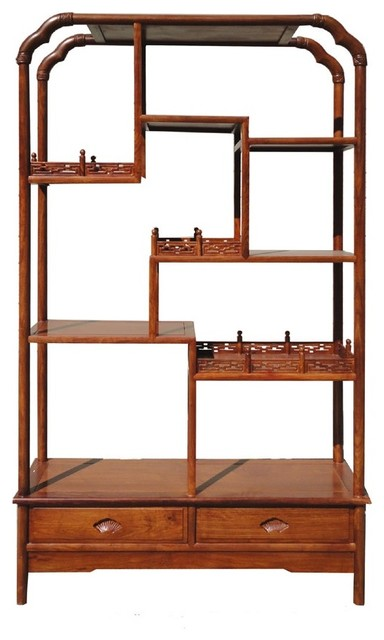 Chinese Rosewood Carving Display Bookcase Cabinet - Asian - China Cabinets And Hutches - by ...