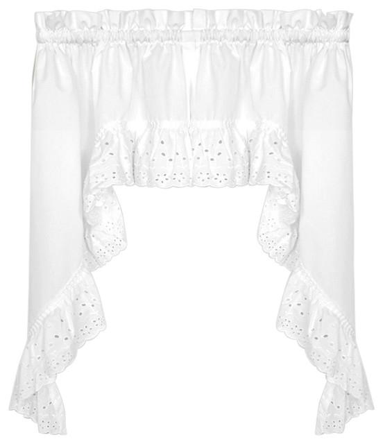 Vienna Eyelet White Kitchen Curtain