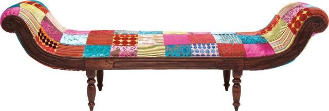 Recamiere patchwork velvet contemporain chaise longue for Chaise longue patchwork