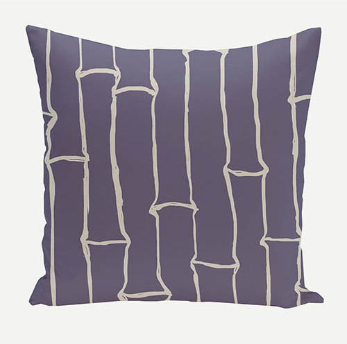 Bamboo Navy Blue 20-Inch Cotton Decorative Pillow - Eclectic - Bed Pillows - by Bellacor