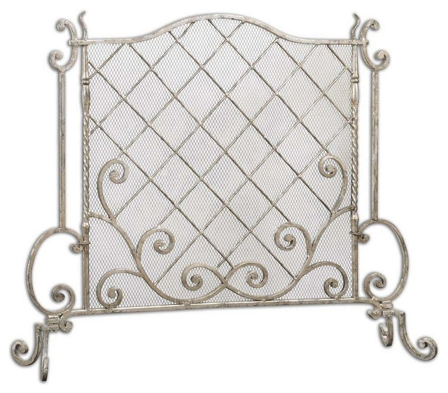 uttermost acasia traditional fireplace screen in silver