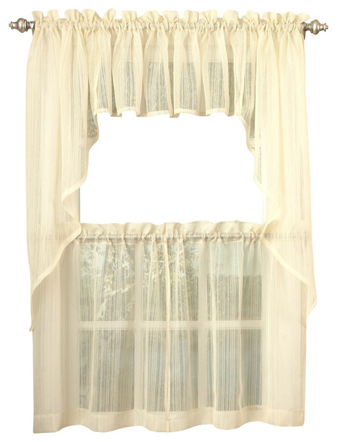 "Harmony Sheer Yellow Kitchen Curtain, 24"" Tier ..."