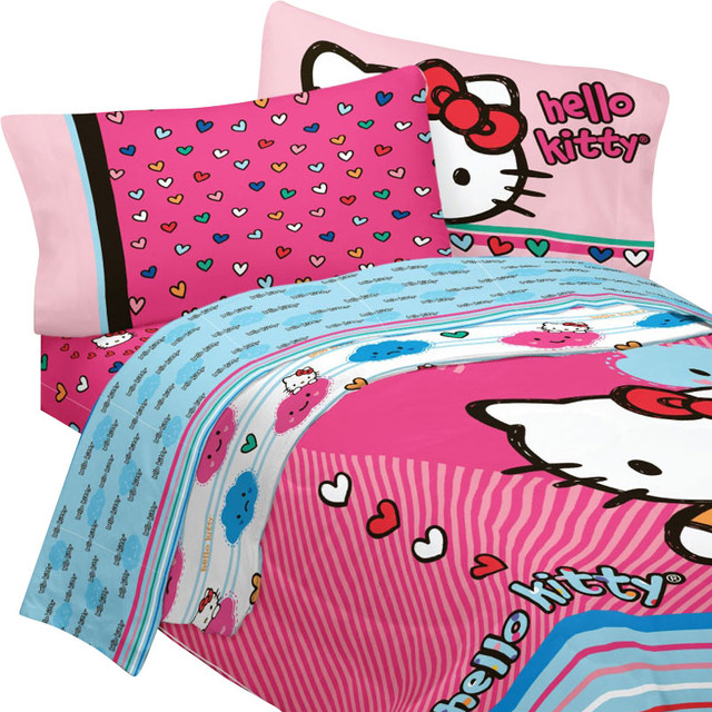 Hello Kitty Full Bedding Colorful Hearts Comforter Sheets