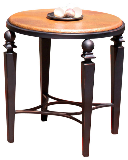 Artisan Home Tribecca End Table With Copper Top And Cast