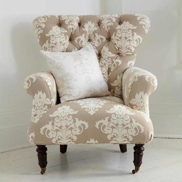 button back cream patterned armchair landhausstil. Black Bedroom Furniture Sets. Home Design Ideas
