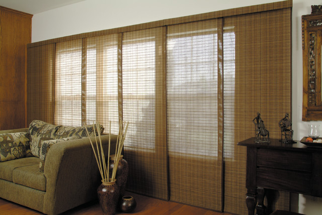 Woven Wood Panel Track Blinds Contemporary Vertical