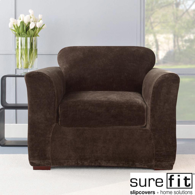 stretch plush chocolate chair slipcover contemporary