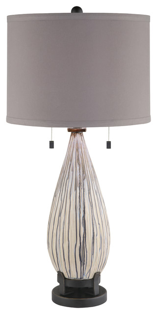 Mason Drip Finish Ceramic Table Lamp 32 1/2 Inches Tall Grey Linen Shade - Transitional - Table ...