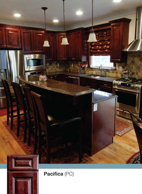 Brown kitchen cabinets pacifica door style kitchen for Kitchen cabinets king