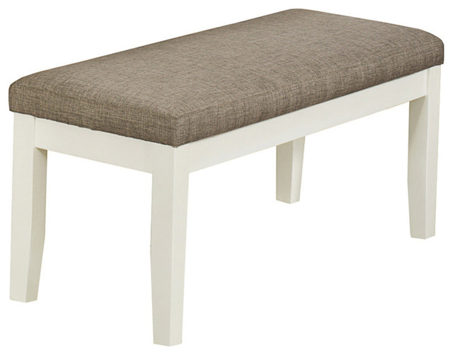 Monarch Specialties Fabric Bench Pearl White Beige 45 Transitional Upholstered Benches: white upholstered bench