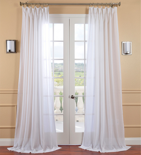 White Orchid Faux Linen Sheer Curtain Panel Contemporary