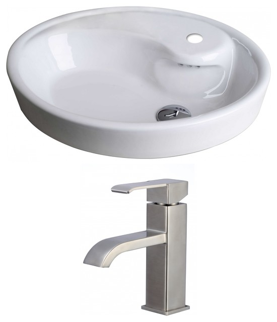 oval vessel set with single hole faucet 21 x18 modern bathroom sinks by posh house. Black Bedroom Furniture Sets. Home Design Ideas