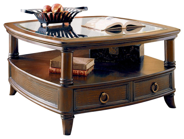 Hammary Magellan Square Top 2 Piece Glass Top Cocktail Table Set Traditional Coffee Table