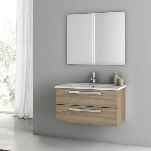 Two Drawer Wall Mounted Vanity Set Contemporary