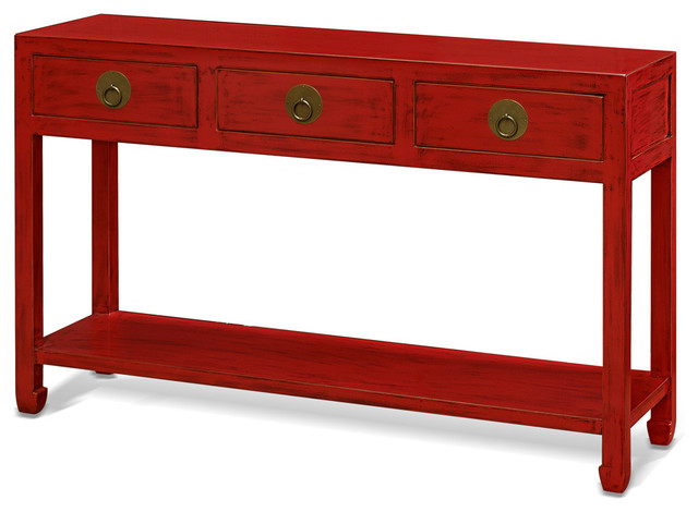 Elmwood Ming-Style Console Table, Red - Asian - Console ...