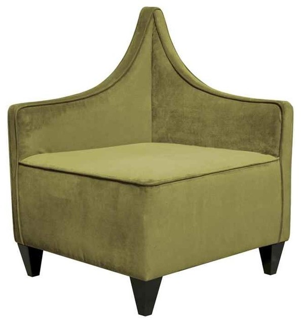 Corner Chair in Moss Green Contemporary Armchairs And
