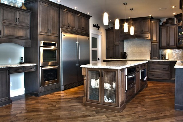 Weathered slate stunner traditional kitchen cabinetry for Kitchen cabinets edmonton