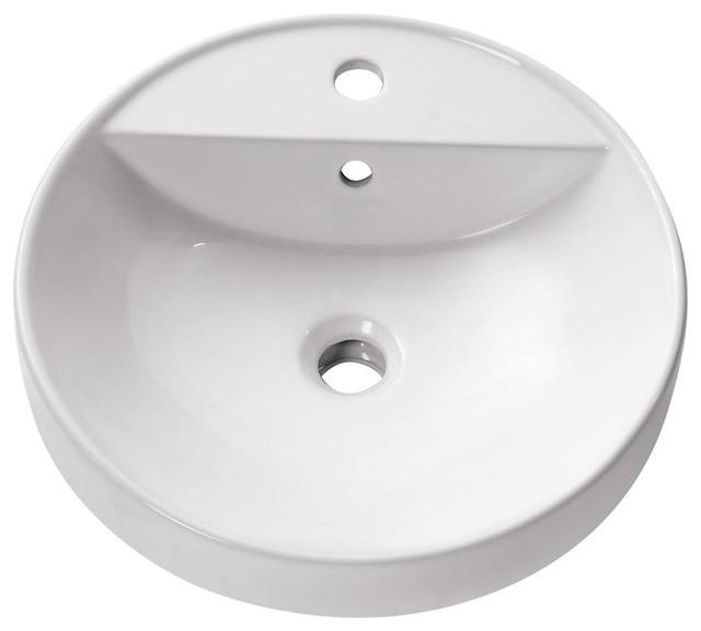 Round Semi Recessed Sink Contemporary Bathroom Sinks
