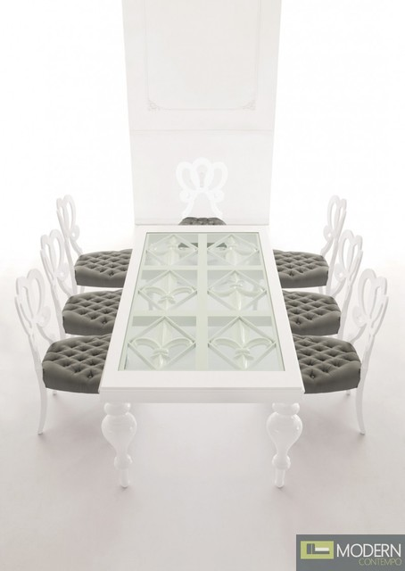 Padova luxury white and glass dining table for Luxury glass dining tables