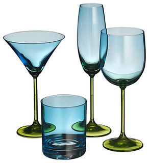 playnation glassware blue green contemporary wine. Black Bedroom Furniture Sets. Home Design Ideas
