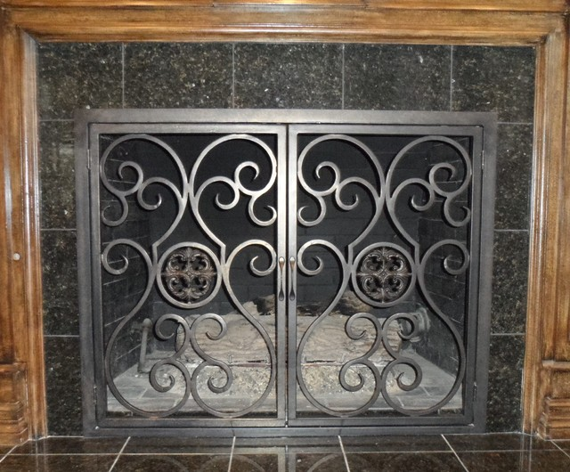 Wrought iron fireplace screens dallas by iron passion llc - Houzz fireplace screens ...