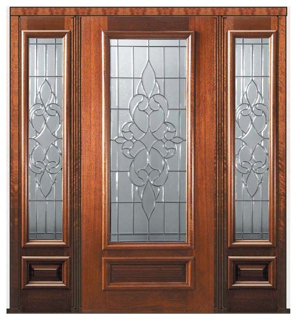 Prehung sidelights door 80 wood mahogany courtlandt 3 4 Prehung exterior door with sidelights