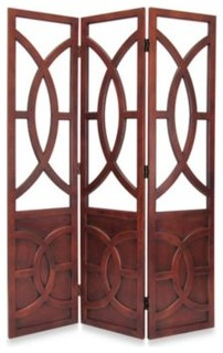 Florance 3 Panel Wood Floor Screen Contemporary