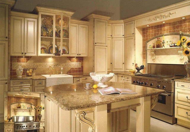 Antiqued white painted cabinets traditional kitchen for Antique painting kitchen cabinets ideas