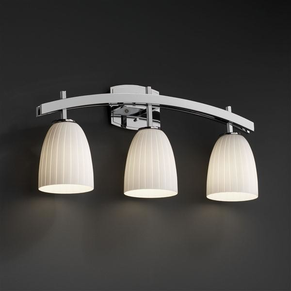 Justice Vanity Lights : Justice Design FSN-8593-18-RBON-CROM FusionCollection - Archway 3-Light Bath Bar
