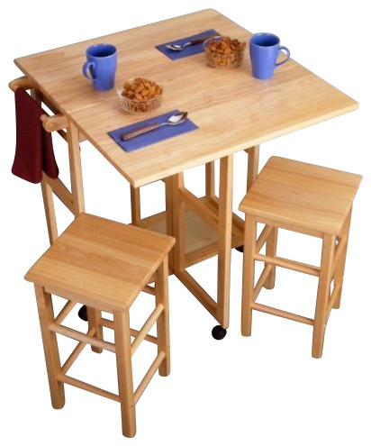 Space Saver Drop Leaf Table With 2 Square Stools