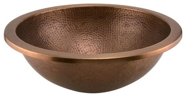 14 rozel undermount round hammered copper sink for Hammered copper undermount bathroom sink