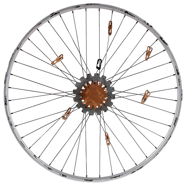 Bicycle wheel memo wall decor rustic bulletin boards for Bicycle wheel wall art