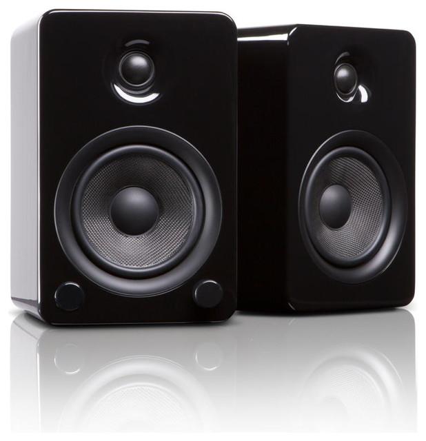 YU5 Powered Bookshelf Speakers With Bluetooth Technology, Gloss Black - Modern - Home ...