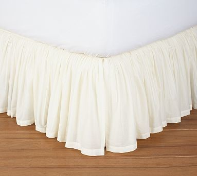Voile Bed Skirt Twin Ivory Traditional Bedskirts