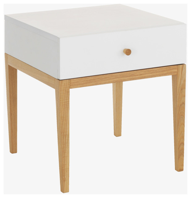 Tatsuma whites wood white 1 drawer bedside unit modern for Modern bedside tables nightstands