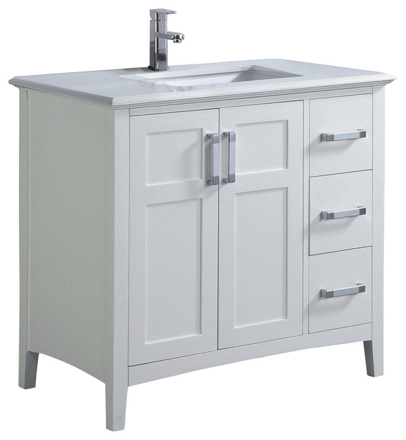 Winston Bath Vanity With White Quartz Marble Top Contemporary Bathroom Vanities And Sink