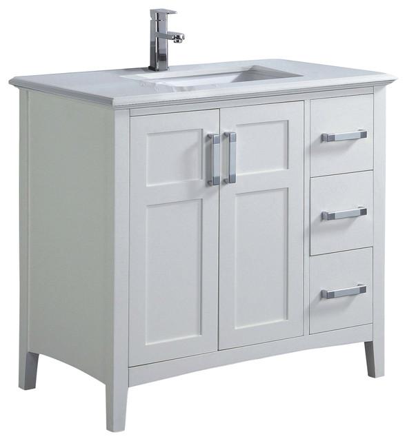 Winston Bath Vanity With White Quartz Marble Top Contemporary Bathroom