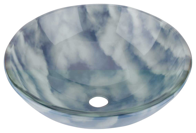 Blue And White Vessel Sink : Vessel Sinks Blue/White Round Cirrus Clouds Glass Vessel Sink - Modern ...