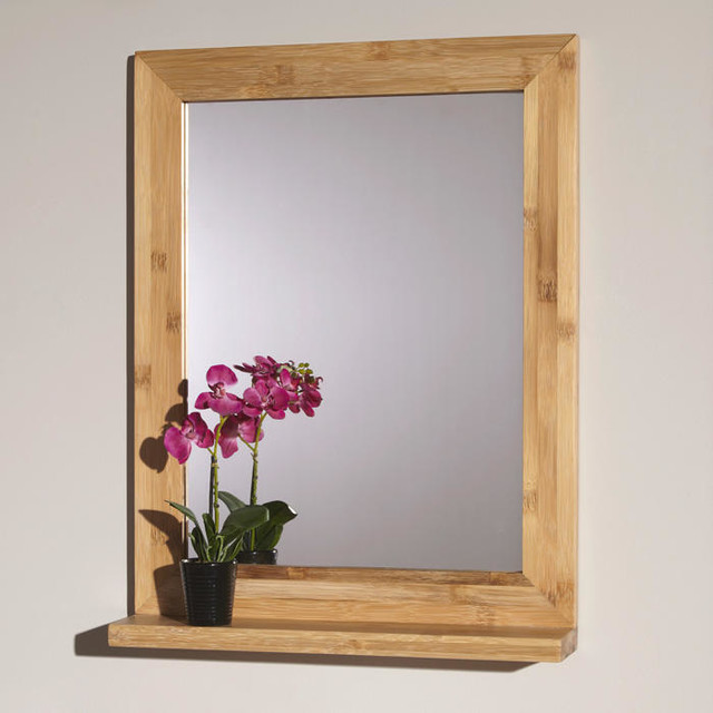 24 Liani Bamboo Vanity Mirror Contemporary Bathroom Mirrors