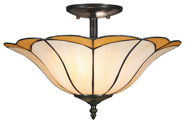 tiffany style lotus leaf flush mount with stained glass. Black Bedroom Furniture Sets. Home Design Ideas