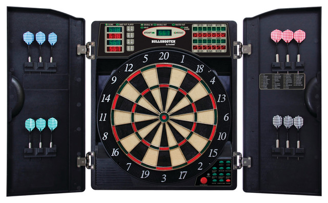E, Bristle 1000 Led Electronic Dartboard Cabinet Set - Contemporary - Darts And Dartboards - by ES