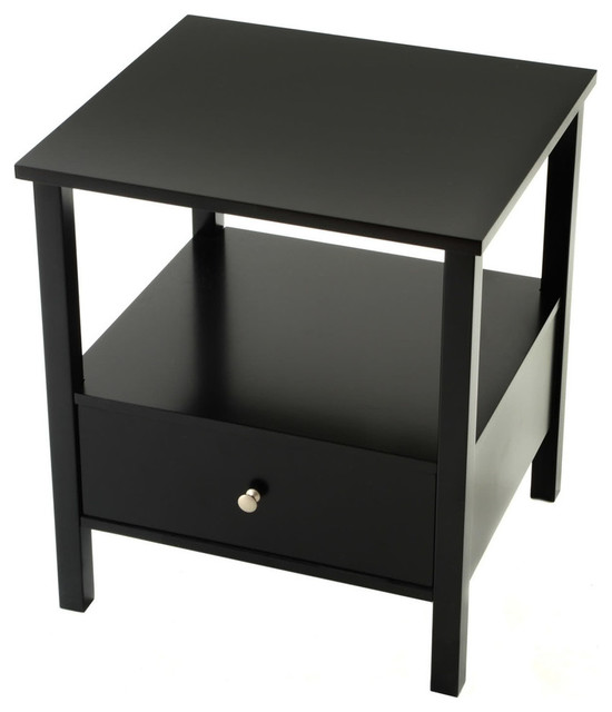 End Table with Full Wood Top and Drawer - Black - Transitional - Side ...