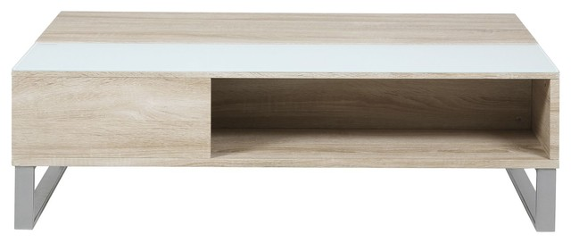 Azalea table basse avec tablettes relevante effet ch ne et laqu contempora - Table basse relevante ...