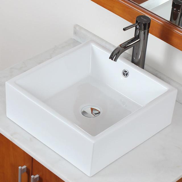 White Square Vessel Sink : ... White Square Bathroom Vessel Sink - Contemporary - Bathroom Sinks - by