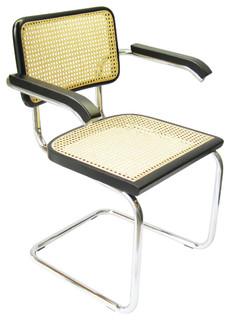 Marcel Breuer Cane Chrome Arm Chair, Black - Anni '50 - Poltrone e sedie in stile - di HTC Stores